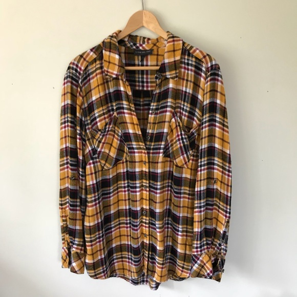 457aafd0d46 Lane Bryant Tops - Lane Bryant Mustard Yellow Plaid Flannel Shirt